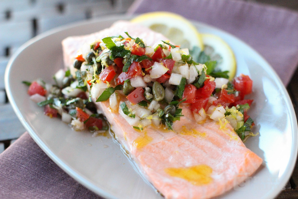 Jacques Pepin\'s Poached Salmon in Ravigote (Wake Up) Sauce