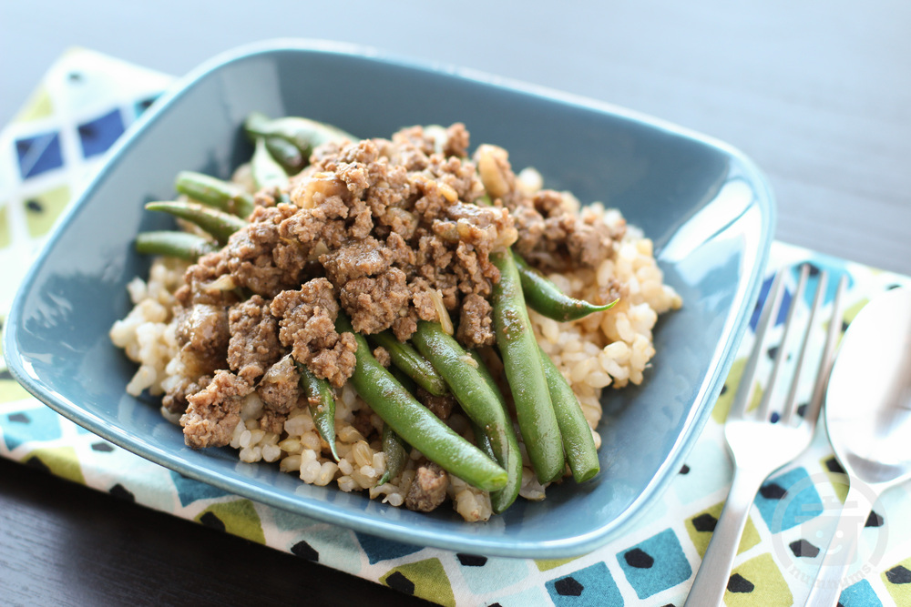 green beans & giniling (ground beef) in oyster sauce