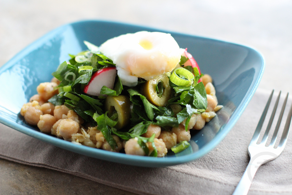 gabrielle hamilton\'s chickpea salad with four-minute eggs