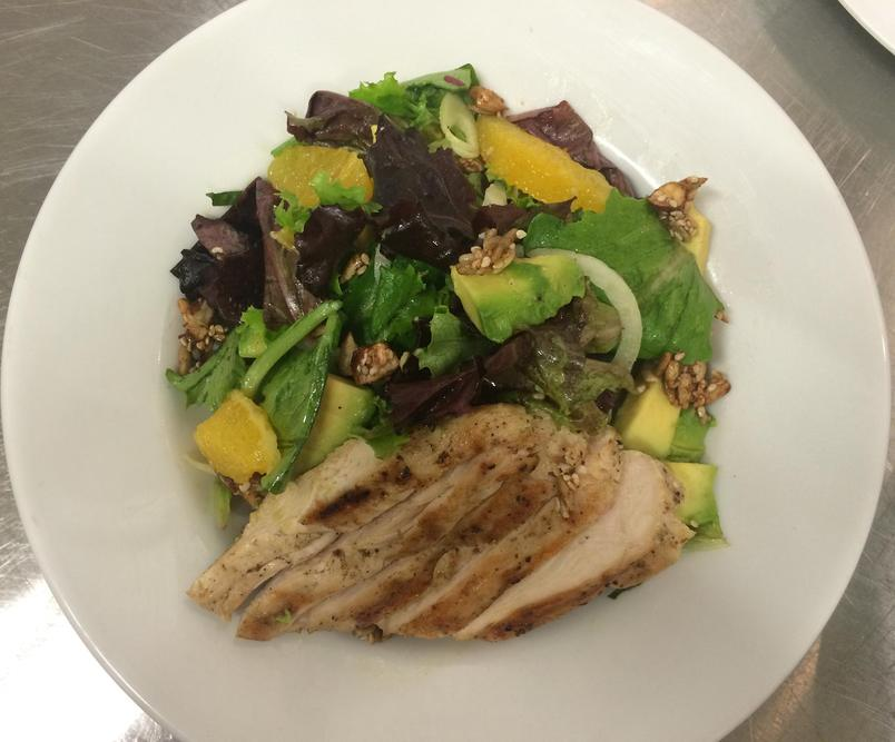 Chicken Citrus Avocado Salad with Nut and Seed Brittle