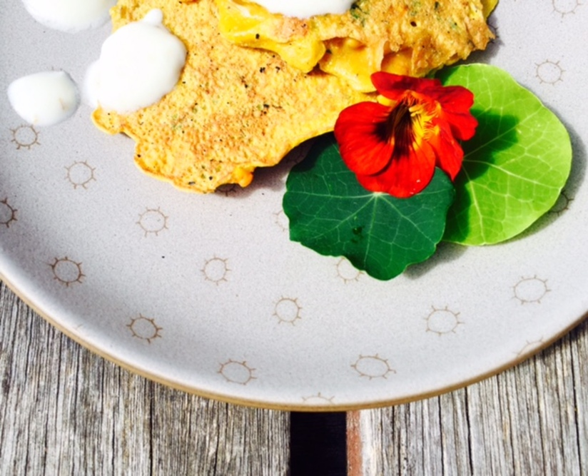 Sweet Potato & Carrot Pancakes with Spiced Yogurt